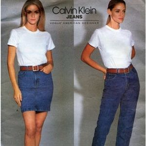 """NOS Vintage CK Calvin Klein Denim Skirt 26"""" 2 4 S"""